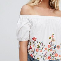 Bershka Embroidered Off The Shoulder Top at asos.com
