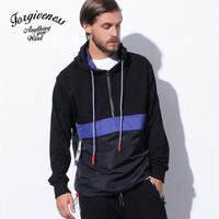 Winter Men's Fashion Hats Pullover With Pocket Patchwork Hoodies Jogging Windbreaker [8822217411]