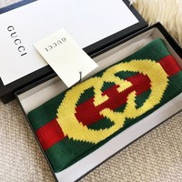 GUCCI Fashion New Green Red Stripe Letter Couple Sports Leisure Headband
