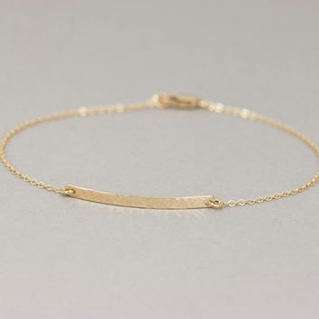 Delicate Narrow Hammered Bar Bracelet / Personalized Gold Bracelet / Small Skinny Bar Bracelet by Layered and Long / LB103.hm