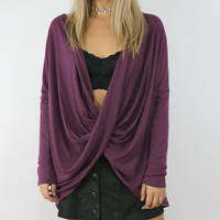 Pretty In Plum Long Sleeve Swing Top