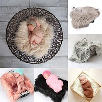 born Photography Props Soft Baby Fur Blankets Faux Fur Background Blankets Cute Infant Kids