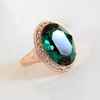 High Society Classic Oval Emerald and Diamond Austrian Crystal Halo Cocktail Ring for Women