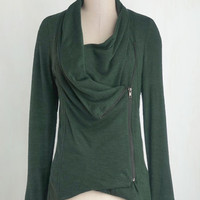 Travel Mid-length Long Sleeve Airport Greeting Cardigan in Forest