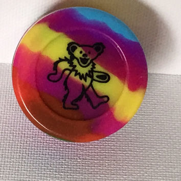 Grateful Dead Bear Dab BHO Wax Container  **Tie Dye pattern slicks**