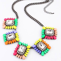 Shorouk Style Chunky Necklace Multi Color Clear Stone