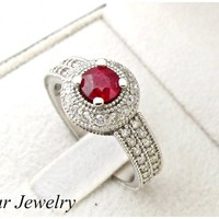 Ruby And Diamonds Filigree Engagement Ring | Vidar Jewelry - Unique Custom Engagement And Wedding Rings