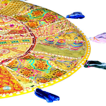 """Yellow 17"""" Patchwork Round Floor Pillow Cushion round embroidered Bohemian Patchwork floor cushion pouf Vintage Indian Foot Stool ottoman"""