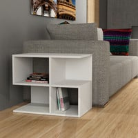 Genevive White Aaron Machine-Made Side Table
