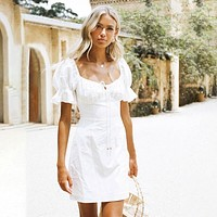 Ivy Marie Bow White Short Sleeve Dress
