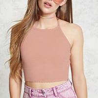 Scalloped Halter Crop Top
