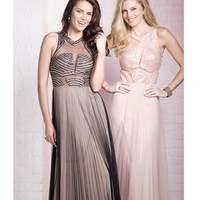 LM by Mignon AL3104 Black & Nude Shimmering Pleated Cut Out Gown 2015 Prom Dresses