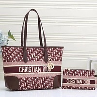Christian Dior Canvas Embroidered Letters Women's Shopping Shoulder Bag Two-piece Crossbody Bag Wallet #3
