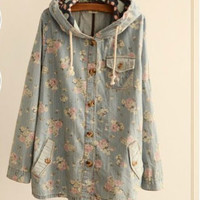 Floral Long Sleeve Hooded Drawstring Jacket