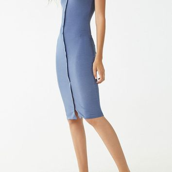 Ribbed Button-Front Cami Dress
