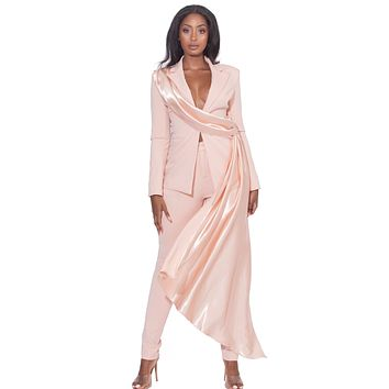 Vayla Pink Skinny Fit Crepe Trousers