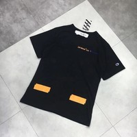"""OFF-WHITE x Champion"" Unisex Casual Letter Embroidery Print Couple Short Sleeve T-shirt Top Tee"