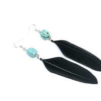 Black feather earrings with turquoise stone Black earrings Bohemian jewelry Ethnic earrings  Boho chic Gift for her Womens gift Summer