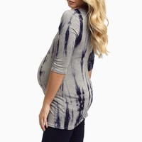 Navy-Grey-Tie-Dye-Fitted-Maternity-Top