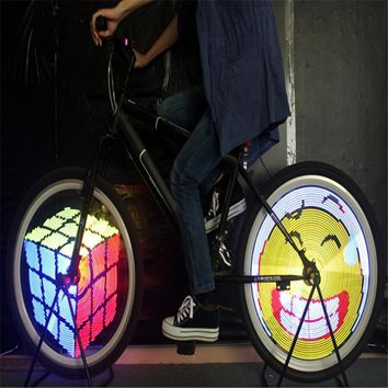 YQ8003 DIY  Bicycle Light Programmable Bicycle Spoke Bike Wheel LED Light Double Sided Screen Display Image For Night Cycling