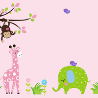 """Girls Baby Room Wall Decals, Pink Toned Nursery Decor, Jungle Wall Decals for Girls, Safari Wall Decals, Nursery Wall Decals - 86"""" x 60"""""""