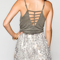 Bozzolo Womens Lattice Back Tank Heather Grey  In Sizes