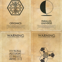 Any 3 Fringe Science Fiction Inspired Iconography Poster Series - 11x17 Vintage Warning Posters