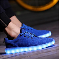 New stylish yeesus LED shoes 7colors black light shoes knitted breathable shuffle shoes with usb charge light up