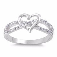 925 Sterling Silver CZ Heart Infinity Harmony Ring 8MM