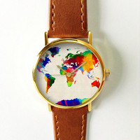 Digital Colored World Map Watch, Leather Watch, Women Watches, Boyfriend Watch, Men's Watch,  Vintage Style Watch, Silver Gold Rose