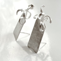 Earrings BAOBAB by Cuorerosso, sterling silver hand forged by my self. Gift idea for Christmas, minimal, tribal urban, post stud