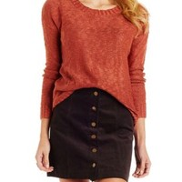 Cinnamon Slub Knit Pullover Sweater with Slits by Charlotte Russe