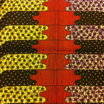Dutch African Wax Print Fabric by the HALF YARD. Red, Purple, Olive Green Dots and Stripes