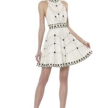 alice + olivia | HIGH NECK SHORT FLARE GOWN