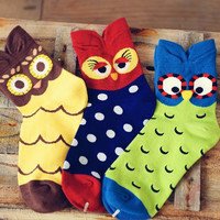 Cute Owl Short Cotton Socks Set (3 pairs)