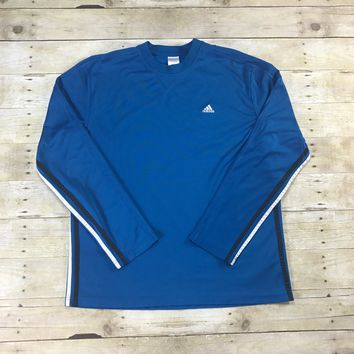 Adidas Blue 3-Stripe CLIMALITE Long Sleeve Athletic Shirt Mens Size Large