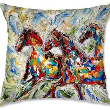 Decorative Outdoor Patio Couch Throw Pillows from DiaNoche Designs BBQ Garden Outdoor Ideas by Karen Tarlton Unique - Abstract Wild Horses
