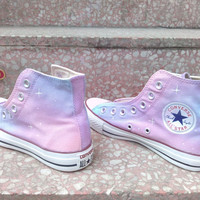 Pink Galaxy Converse shoes  Custom Converse Galaxy Converse Sneakers Hand-Painted On Converse Shoes canvas shoes