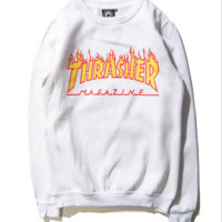 Fall and winter new Thrasher couple flames hedging plus velvet hip-hop sweater men and women White