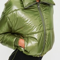Missguided - Khaki High Shine Cropped Jacket