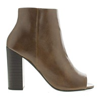 Yuriko By Delicious, Peep Toe Stacked High Heel Ankle Bootie
