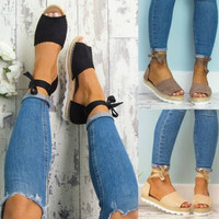 Women Summer Fashion Style Flip-flop Sandals Flat Womens Sandals Bandage Sandals