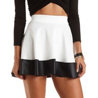Faux Leather Trim Skater Skirt by Charlotte Russe - Ivory Combo