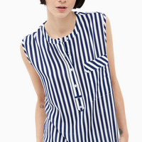 Strips Casual Sleeveless Summer Blouse