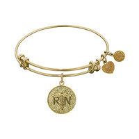Non-Antique  Stipple Finish Brass Registered Nurse Angelica Bangle, 7.25 Inches Adjustable