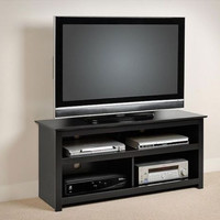 Home Furniture Storage Compartments Flat Panel Plasma LCD TV Console Stand Black
