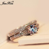JUNXIN Female Crystal White Round Wedding Ring Set Fashion Jewelry Luxury Women 925 Silver Ring Promise Rings For Couple
