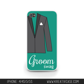 Wedding iPhone Case for iPhone 5, 5S, 5C, Groom Phone Case, Personalized iPhone Cover, Engagement Gift, Groom Swag - K275