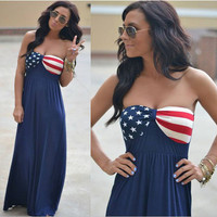 American Flag Printed Strapless Maxi Dress