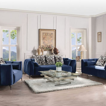 Acme 50435-36 2 pc Hellebore blue velvet fabric sofa and love seat set